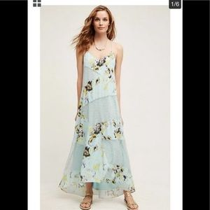 Anthropologie SB Rainflower Lace Print Maxi Dress
